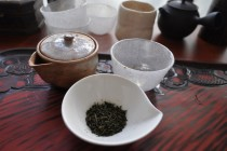 Preparing to Steep Kama-iricha  Japanese Tea