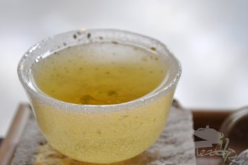 Cup of Organic Tian Mu Qing Ding Green Tea